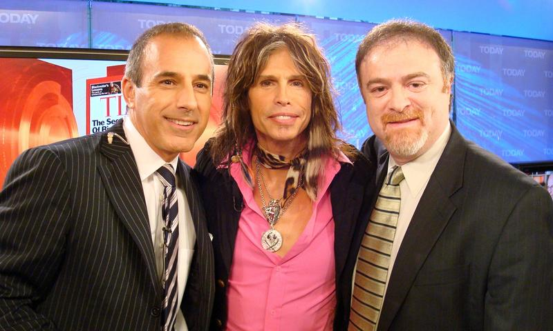 """Dr. Steven Zeitels (R), a leading vocal fold surgeon, with his patient Steven Tyler after an interview with Matt Lauer on the """"Today"""" show"""