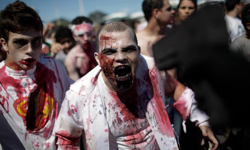 Two zombies at the Zombie Walk in Rio de Janeiro, Brazil