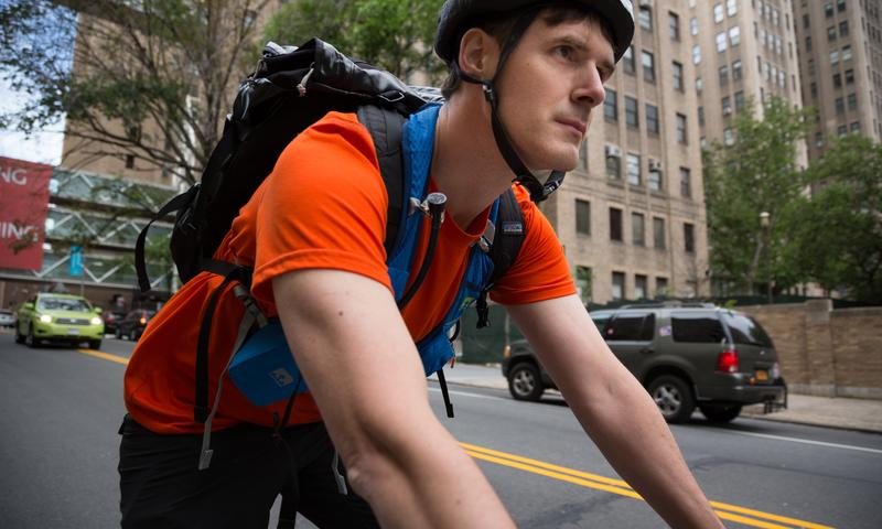 Darby Jack bikes to and from his office in northern Manhattan to his home in Brooklyn. Volunteer riders recruited by WNYC will don monitors like the ones he's wearing here.