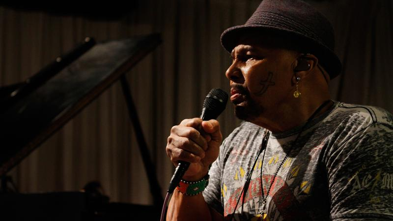 Aaron Neville sings in the Soundcheck studio.