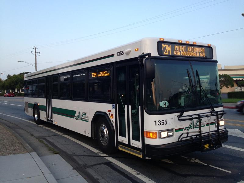 An AC Transit bus in the East Bay city of El Cerrito, Calif.