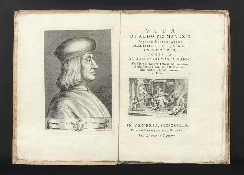 This biography of the printer Aldus Manutius was written by Domenico Maria Manni.