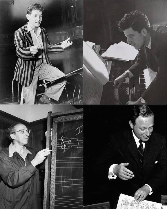 Clockwise from left: Leonard Bernstein, Lukas Foss, Irving Fine, Aaron Copland.