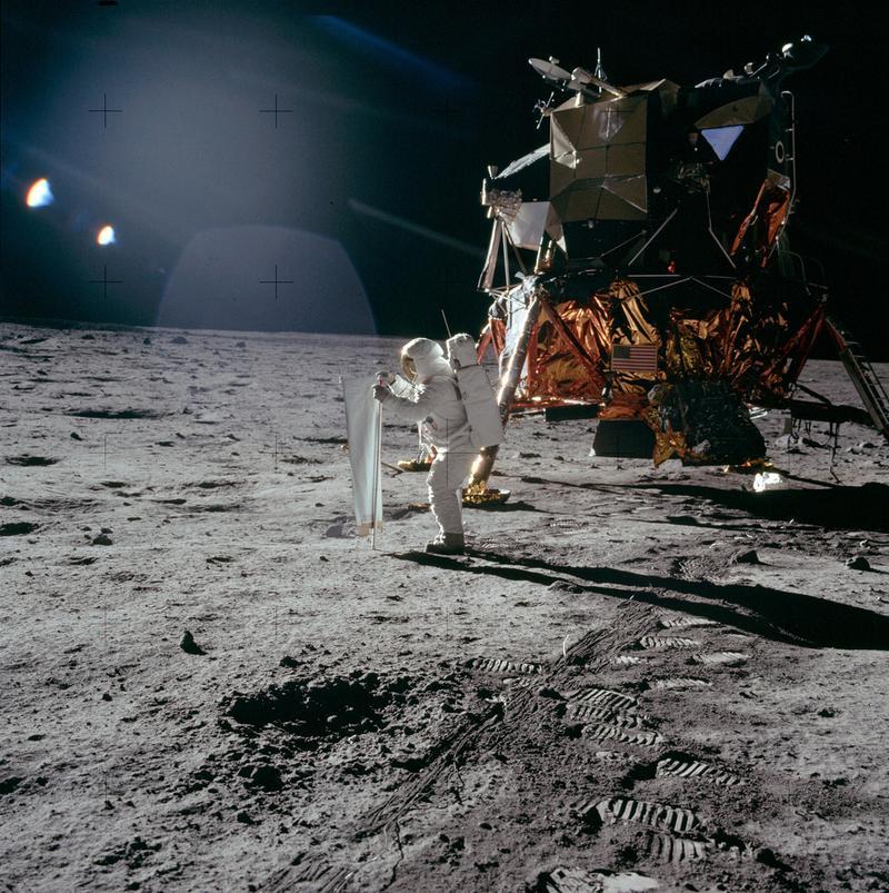 Buzz Aldrin deploying the Solar Wind Collector