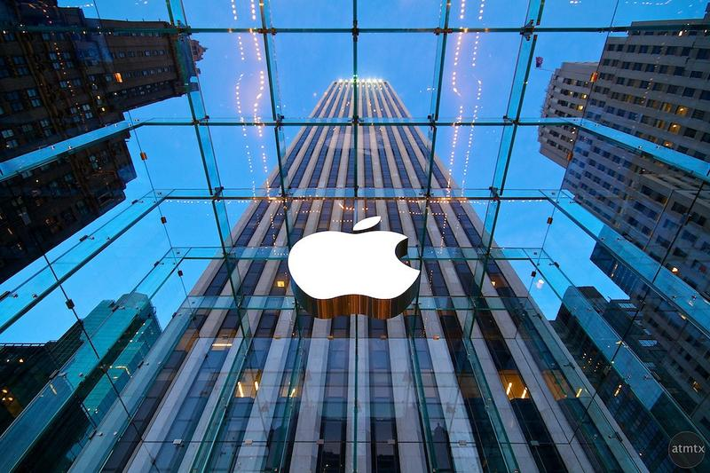 """The iconic """"Glass Cube"""" Apple Store on 5th Avenue in New York City."""
