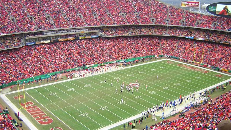 Arrowhead Stadium, home of the Kansas City Chiefs, and one of the loudest football stadiums.