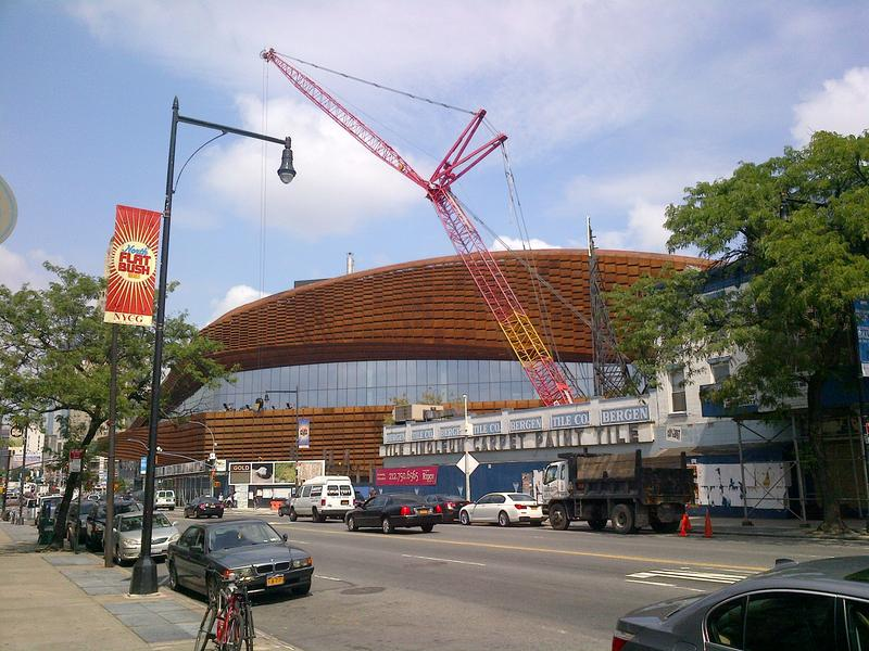 The Atlantic Yards site in Brooklyn; the rust-colored Barclays Center (left) opened last fall.