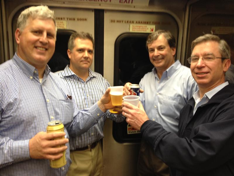 A final toast on one of Metro-North's last bar cars.