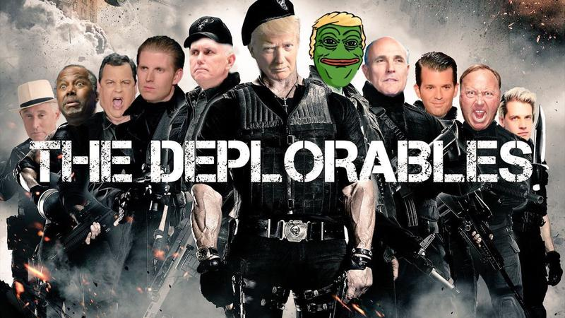 """A meme depicting Trump and his surrogates--including Pepe the Frog--as """"The Deplorables."""""""