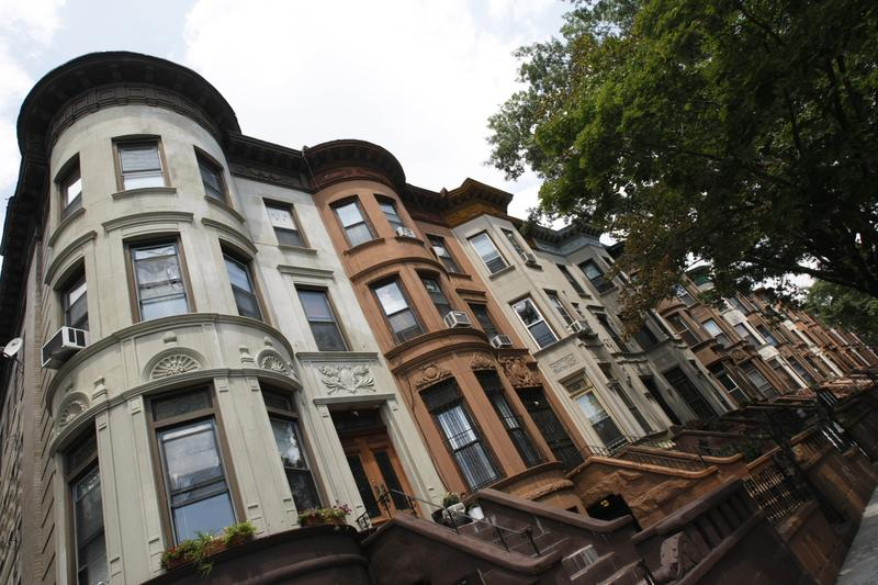 A row of brownstones in Bedford-Stuyvesant.