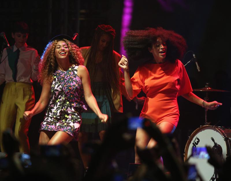 (Left to right) Beyoncé and Solange perform during the 2014 Coachella Valley Music & Arts Festival in Indio, California.