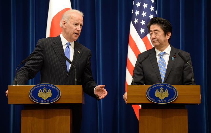 Vice President Joe Biden at a joint press conference with Japanese Prime Minister Shinzo Abe in Tokyo on December 3, 2013.