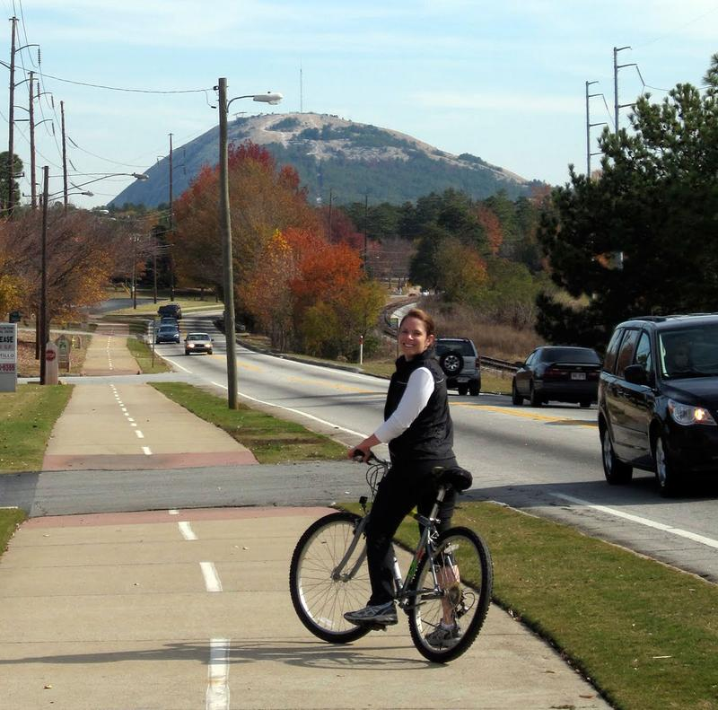 WABE listener Cullen Boudreaux rides the PATH bike trail to Stone Mountain in Atlanta.