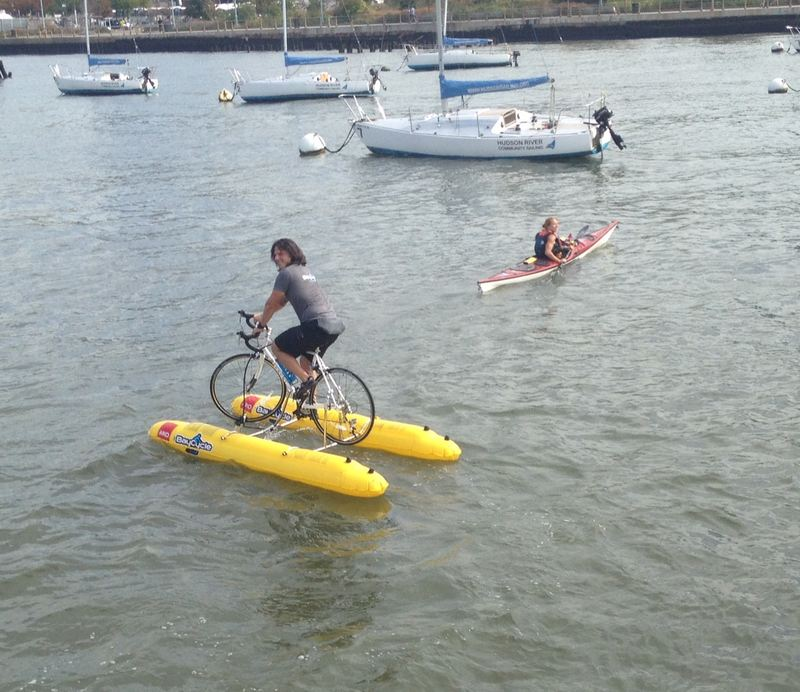 Judah Schiller water biking across the Hudson