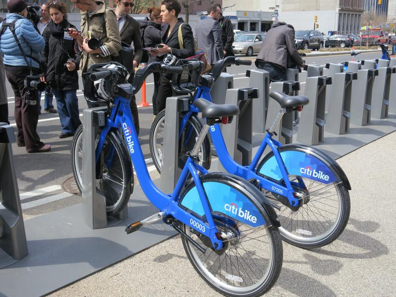 Citi Bikes parked in a docking station