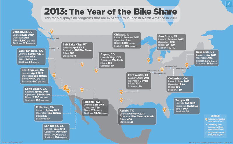 In 2013, 18 North American cities are planning to launch bike share programs.
