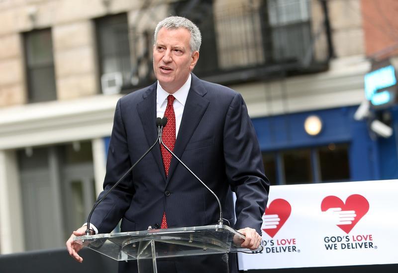 New York City Mayor Bill de Blasio speaks at the 'God's Love We Deliver' Building Dedication at God's Love We Deliver on June 9, 2015 in New York City.