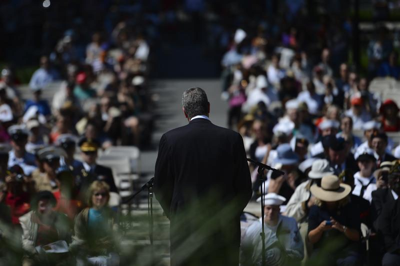 Mayor Bill de Blasio delivers remarks at the Soldiers' and Sailors' Memorial at Riverside Park on Monday, May 26, 2014.