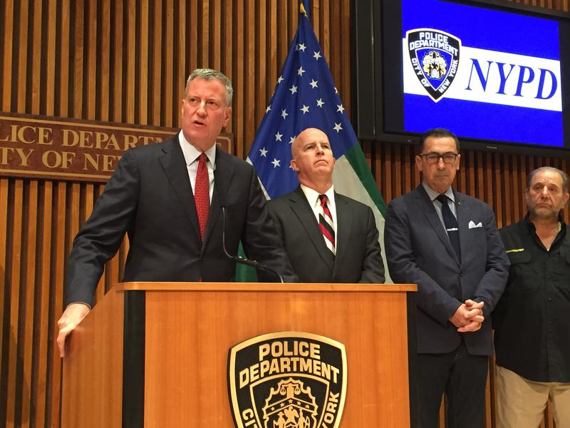 New York Mayor Bill de Blasio, seen here next to NYPD Commissioner James O'Neill, says a 66-year-old mentally ill Bronx woman should not have been shot by a cop.