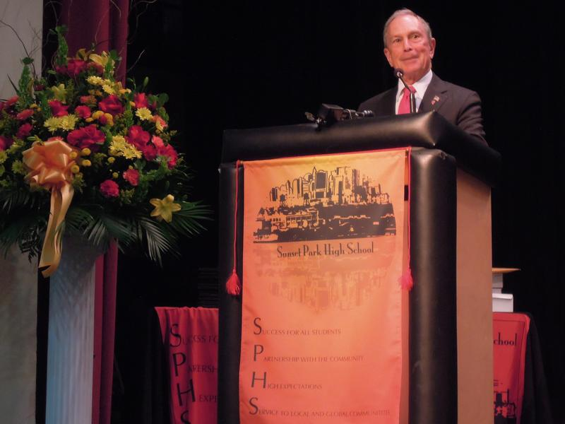 Mayor Bloomberg gives the commencement address to the first graduation class of Sunset Park High School.