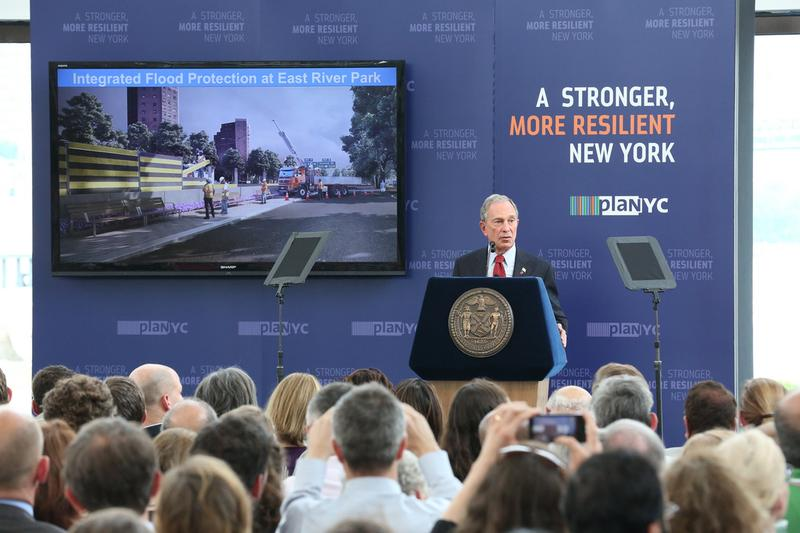 Mayor Bloomberg speaking at the Brooklyn Navy Yard about preparing the city for climate change.