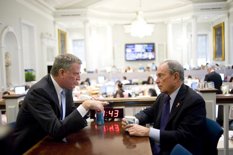 Mayor-Elect Bill de Blasio and Mayor Michael Bloomberg at City Hall