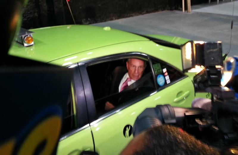 Mayor Bloomberg left the Williamsburg news conference in a boro taxi.
