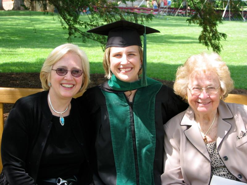 Sophie Bomba (right), at her granddaughter Stephanie's medical school graduation, months before she died. Patricia (left) helped Sophie draw up medical orders that she carried with her at all times.