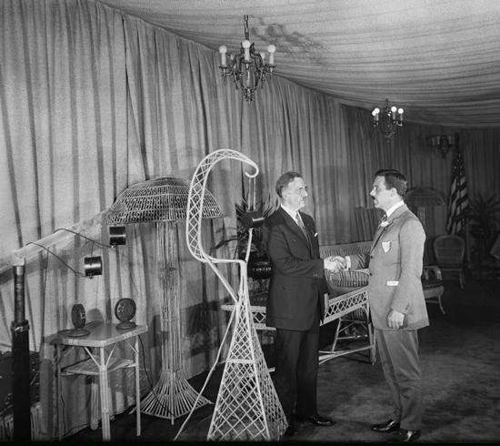 New York Mayor John F. Hylan with Commissioner Grover Whalen in the WNYC studio, July 9, 1924.