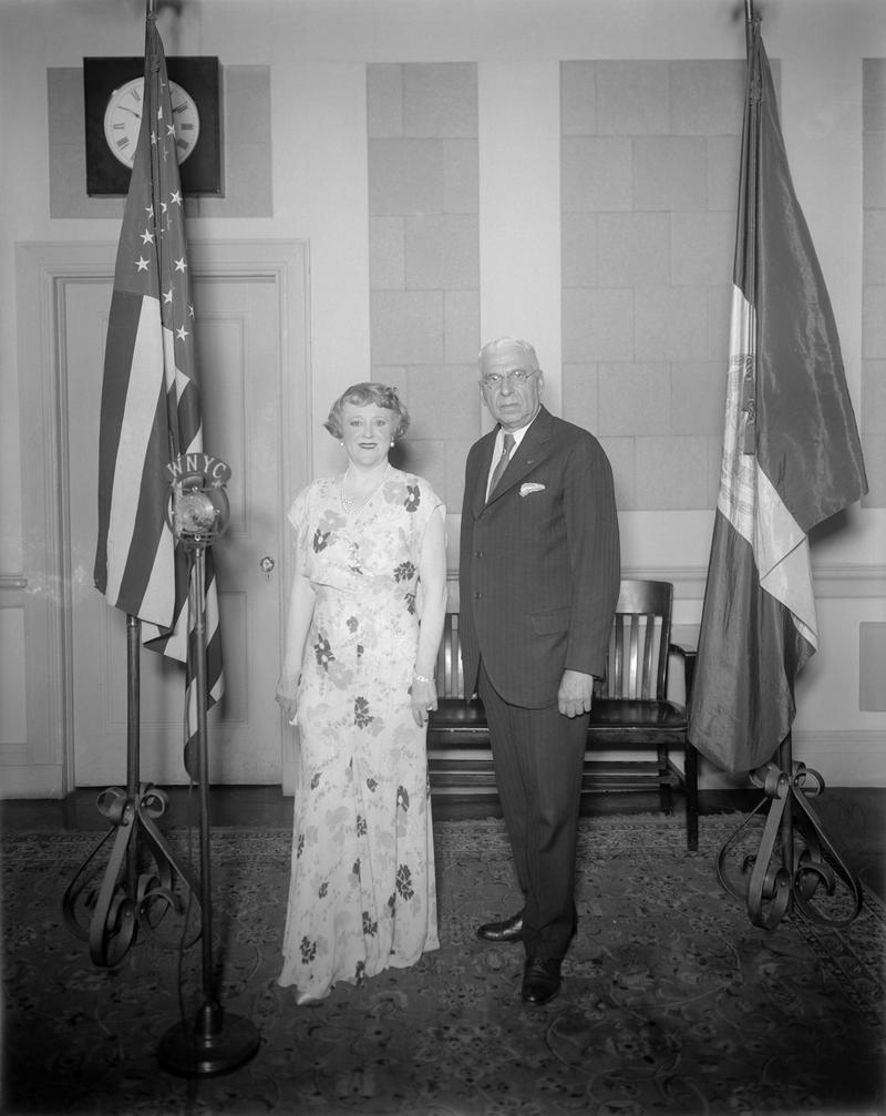 Sorprano Frieda Hempel and WNYC Director Frederick Kracke, July 9, 1934. Photo by Eugene de Salignac.