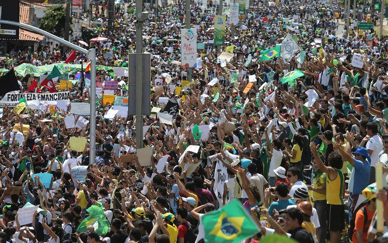 Demonstrations in Fortaleza, Brazil, part of a movement that began against bus fare increases and expanded to include spending on soccer stadiums for the 2014 World Cup.