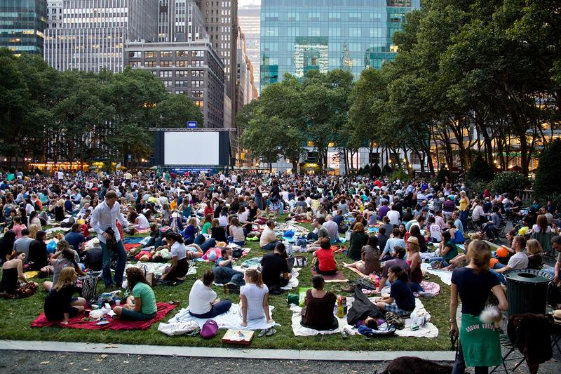 Bryant Park is one of many parks in the city that hosts outdoor movie nights throughout the summer.