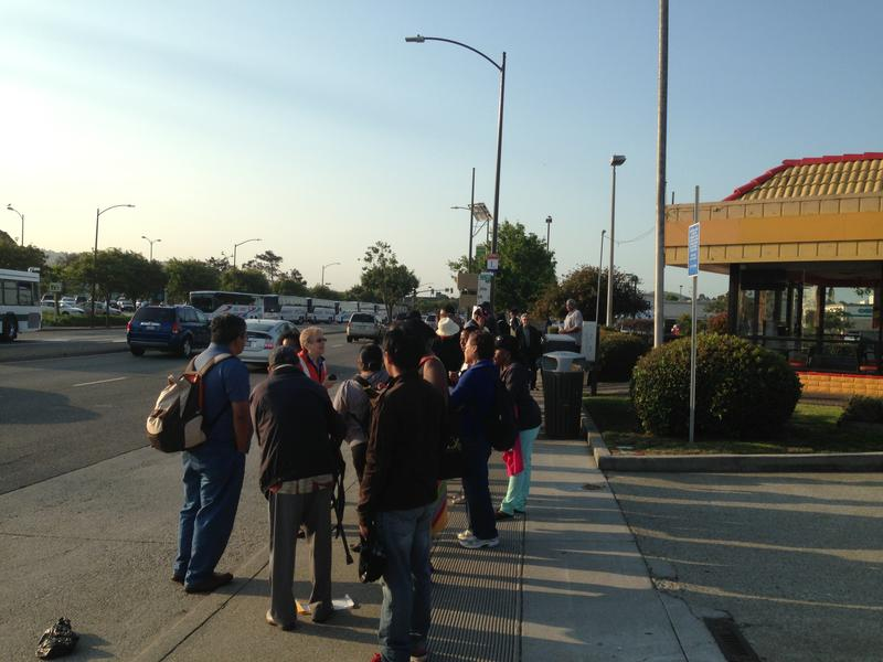 BART transit workers were on strike Monday morning July 1, 2013, leading to long lines like this one at San Francisco Bay Area bus stops.