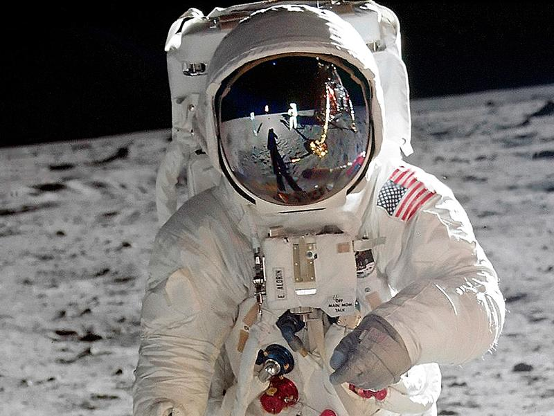 Neil Armstrong reflected in Buzz Aldrin's visor