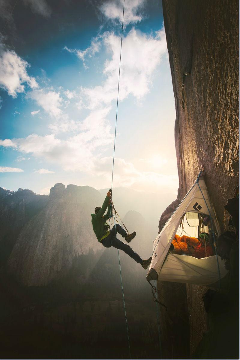 Climbers Tommy Caldwell and Kevin Jorgeson in the middle of the Dawn Wall.