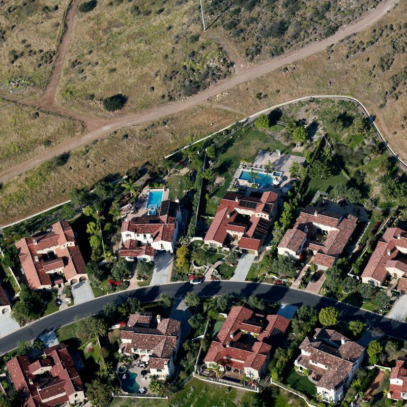 Aerial view overlooking landscaping on April 4, 2015 in San Diego, California.