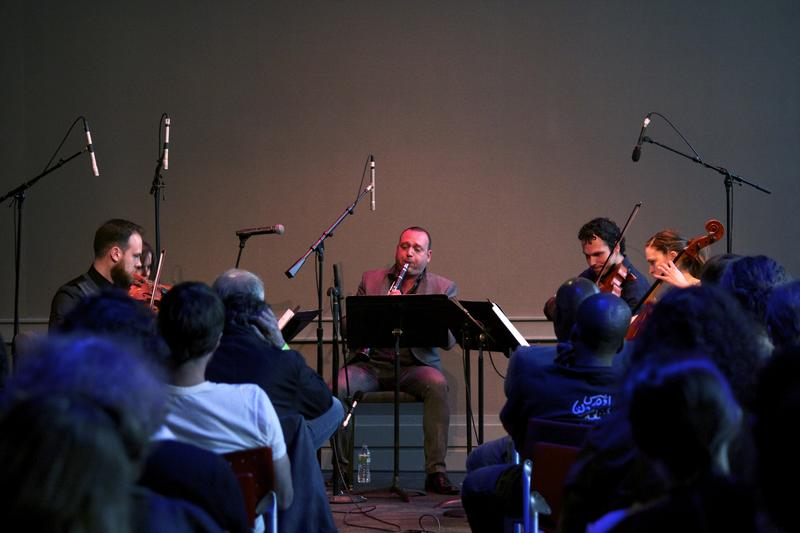 Composer, conductor and clarinetist Derek Bermel and the Mivos Quartet perform in the BAMcafé on the second day of the 2013 Crossing Brooklyn Ferry festival.