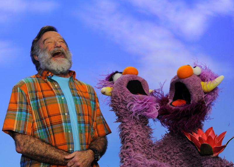 Screen grab from Robin Williams on Sesame Street in 2012.
