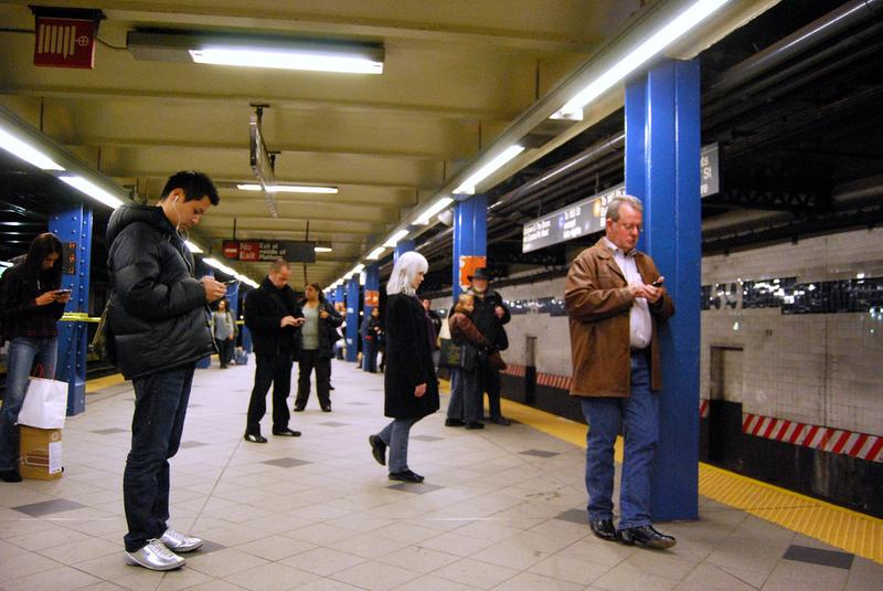 Cell phone service is available on some NYC subway platforms, but not most of them.