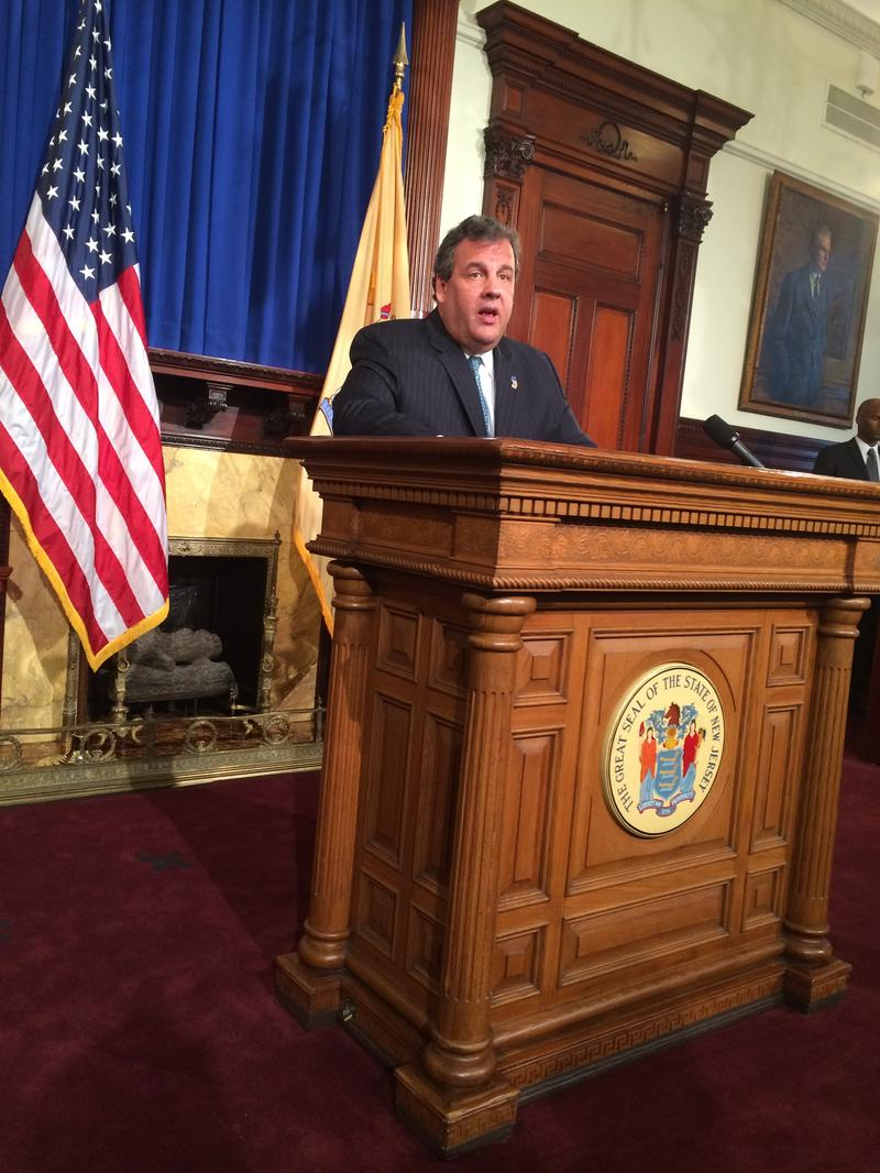 Gov. Chris Christie at a Statehouse press conference