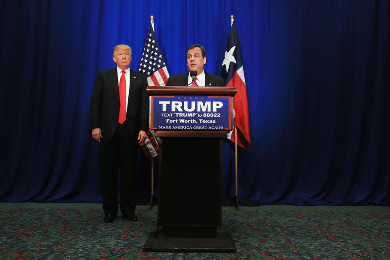 New Jersey Governor Chris Christie announces his support for Republican presidential candidate Donald Trump during a campaign rally at the Fort Worth Convention Center on February 26, 2016 in Texas.