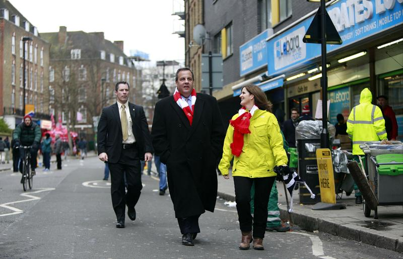 Gov. Christie and First Lady Pat Christie during a recent trip to London. He's been accused of traveling, in part, on other people's dime.