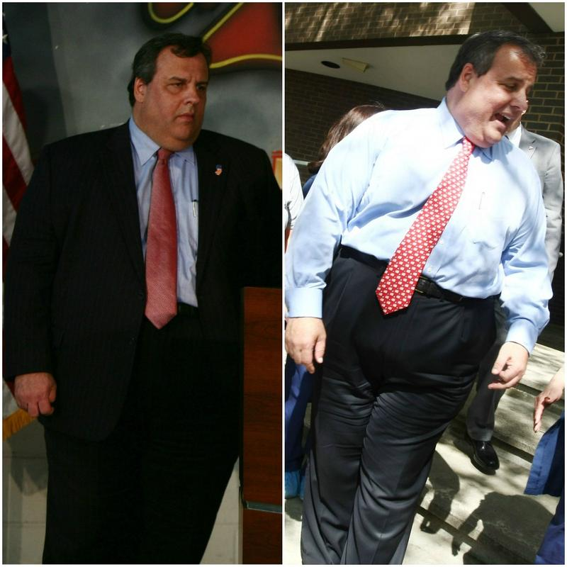 A photo of Gov. Christie taken on Feb 7 (left), before his surgery, compared to one taken of him on May 2, 2013, (right).