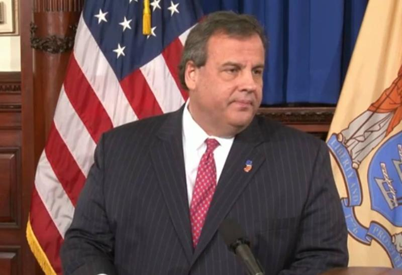 Chris Christie at a press conference discussing the scandal over lane closures on the George Washington Bridge