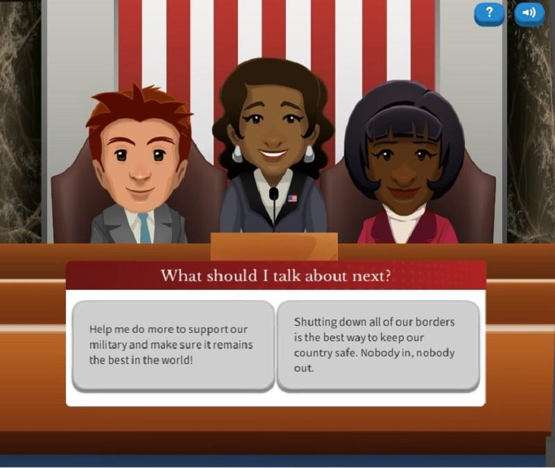 "A screenshot from the free, online video game from iCivics ""Executive Command,"" which lets you play as President of the United States."