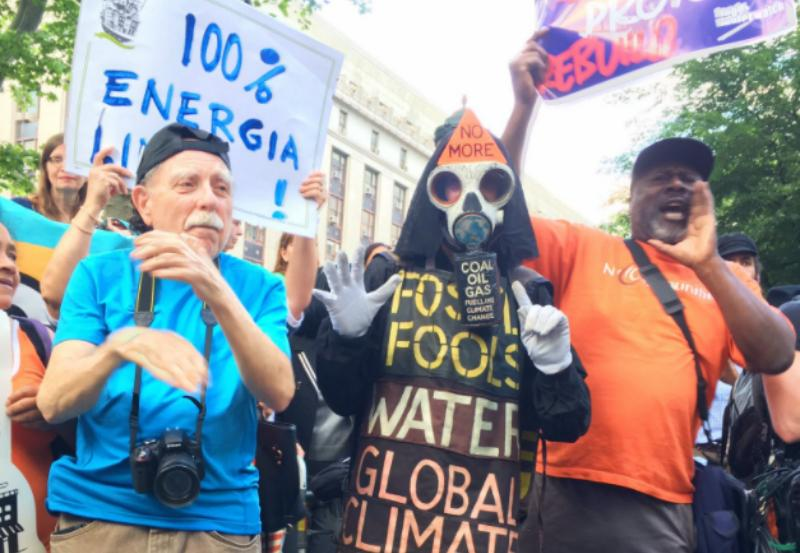 """In Foley Square, protesters shouted that """"there are no jobs on a dead planet."""""""