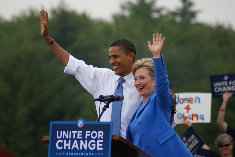 Barack Obama and Hillary Clinton campaigning in 2008