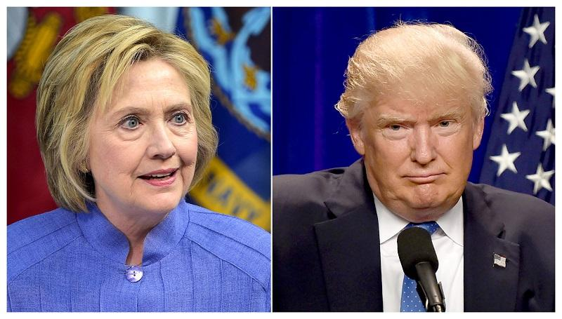 This combination of file photos shows Democratic presidential candidate Hillary Clinton (L) on June 15, 2016 and presumptive Republican presidential nominee Donald Trump on June 13, 2016.