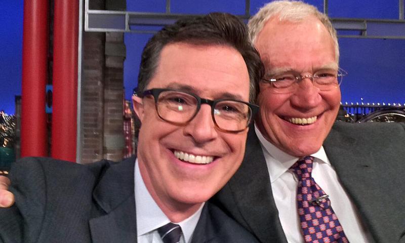 <em>Late Show</em> selfie: Stephen Colbert and David Letterman