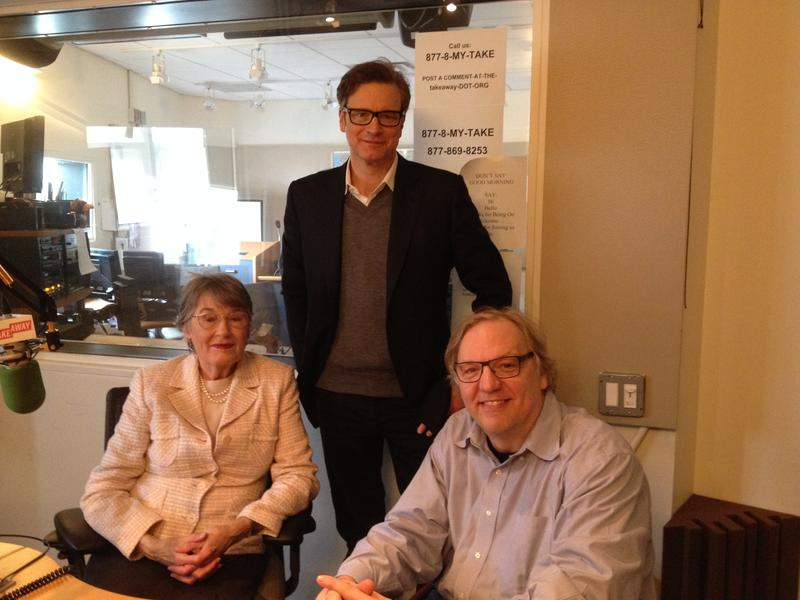 "Actor Colin Firth with Takeaway Host John Hockenberry and Patti Lomax, the real life widow of the man he portrays in the film ""The Railway Man."""